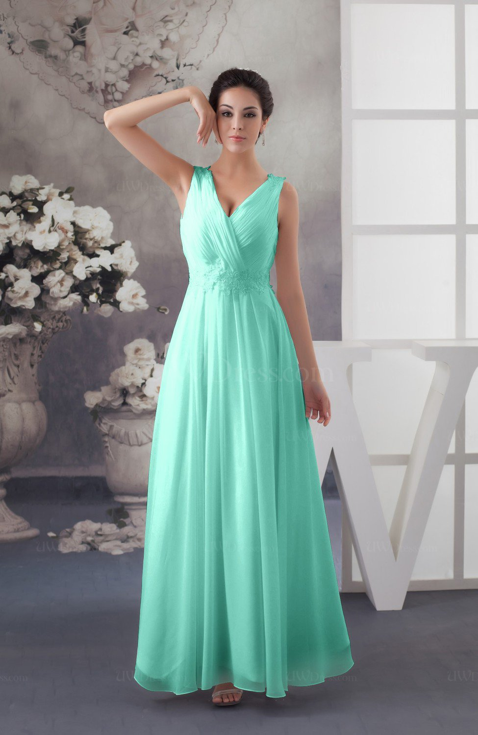 191023bfaf5 Mint Green Chiffon Bridesmaid Dress Affordable Sexy Western Allure  Sleeveless Amazing (Style D42268)