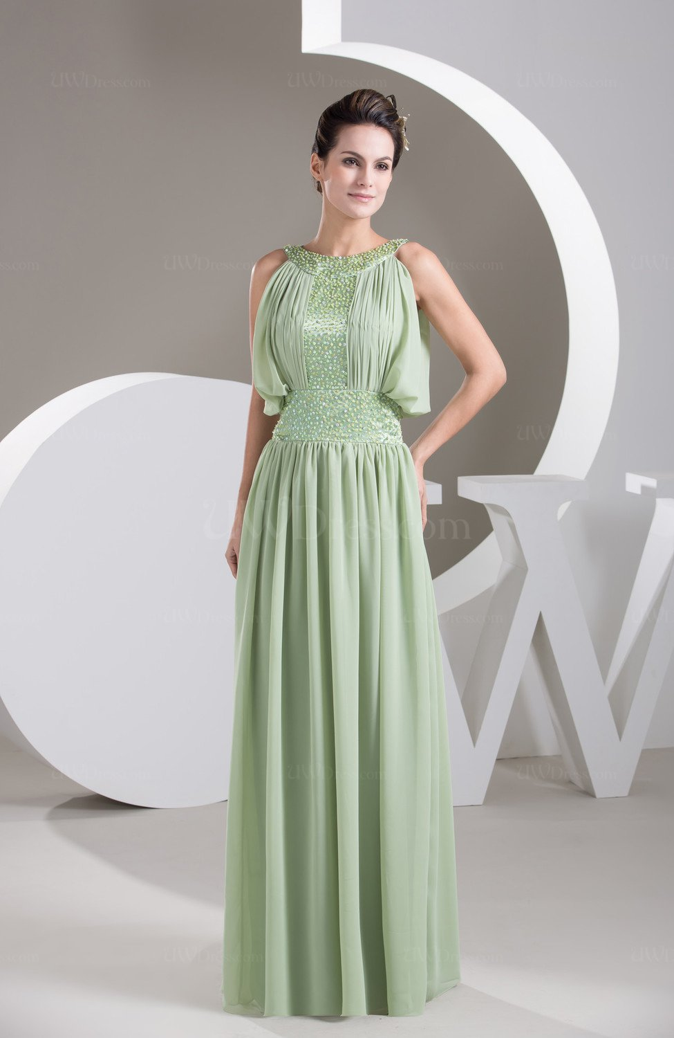 Sage Green Vintage Party Dress Long Traditional Chic
