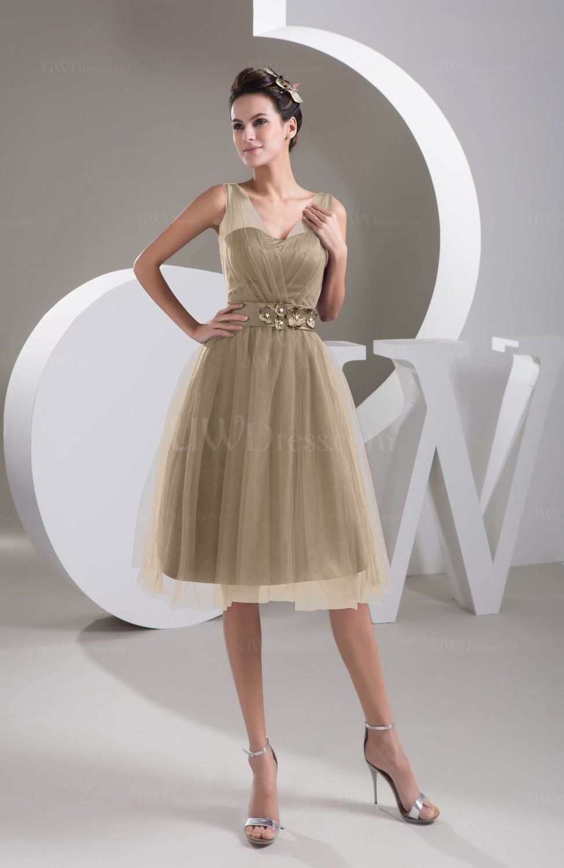 Almondine Brown Inexpensive Bridesmaid Dress Short Sheer