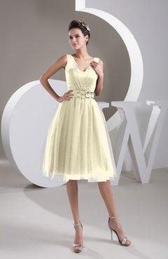 84b189879dc Egret Inexpensive Bridesmaid Dress Short Sheer Knee Length Informal Elegant
