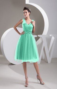 Mint Green Inexpensive Bridesmaid Dress Short Sheer Knee Length Informal  Elegant c79ed40507ff
