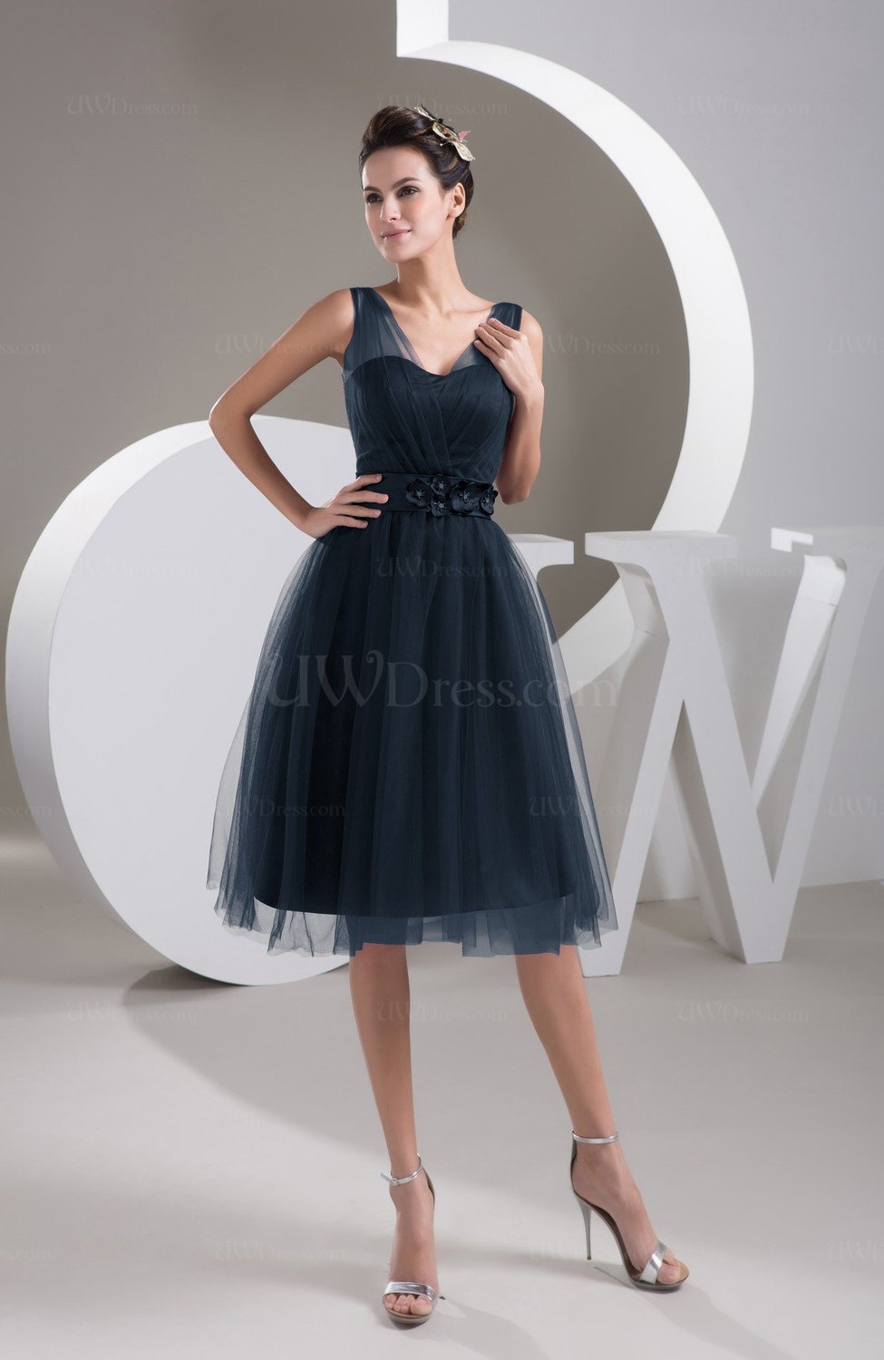 Navy Blue Inexpensive Bridesmaid Dress Short Sheer Knee Length Informal Elegant