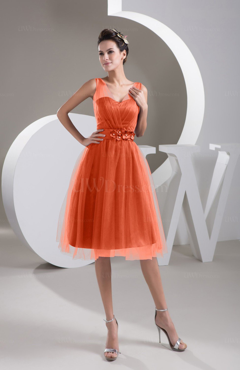021c5dd2bf98 Persimmon Inexpensive Bridesmaid Dress Short Sheer Knee Length Informal  Elegant (Style D14229)