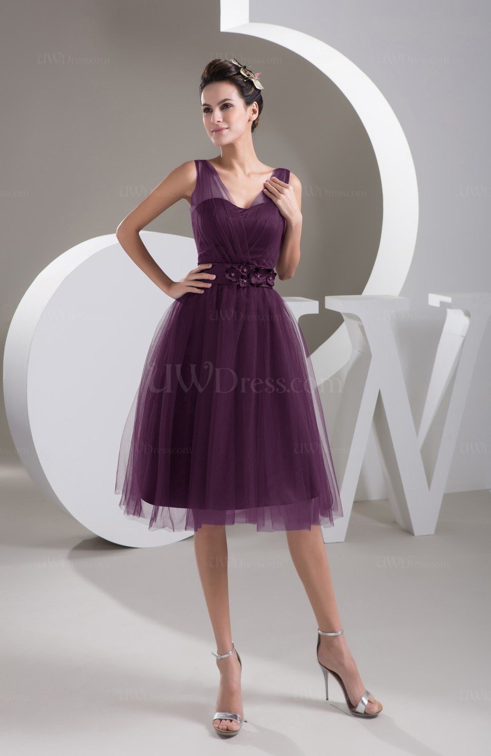444d70223a7 Plum Inexpensive Bridesmaid Dress Short Sheer Knee Length Informal Elegant  (Style D14229)
