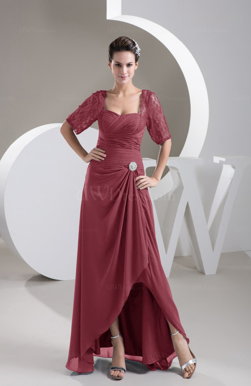 b18b03c86d7 Wine with Sleeves Bridesmaid Dress Chiffon Classy Apple Trendy Plain Full  Figure