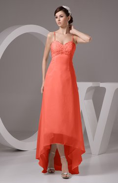7b47d984c1946 Living Coral Chiffon Bridesmaid Dress Tea Length Natural Chic Open Back  Backless Autumn