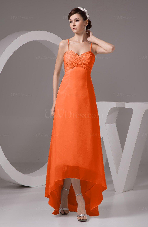 516c11c95b5 Tangerine Chiffon Bridesmaid Dress Tea Length Natural Chic Open Back  Backless Autumn (Style D40951)