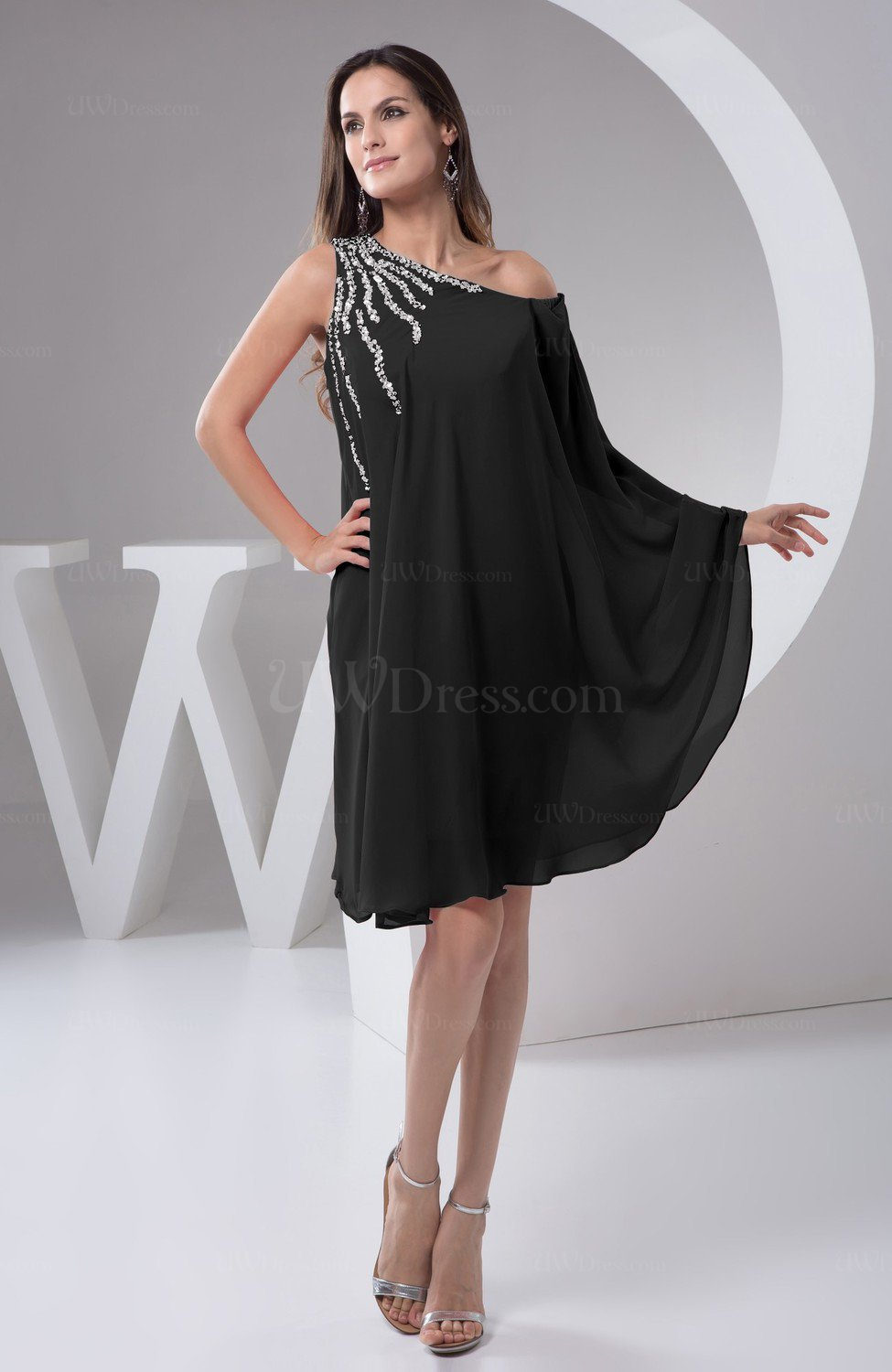 Black Chiffon Bridesmaid Dress Maternity Outdoor Plus Size Autumn A line  Modern