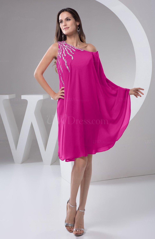 5fde5d0080a71 Hot Pink Chiffon Bridesmaid Dress Maternity Outdoor Plus Size Autumn A line  Modern (Style D58492)
