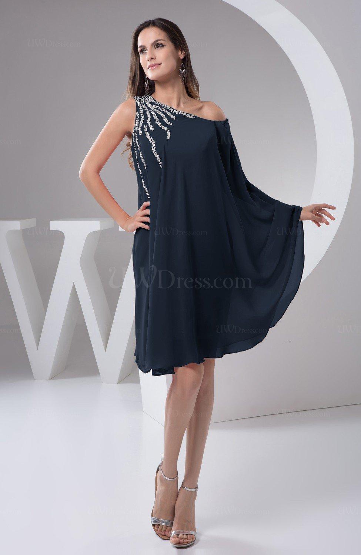 Navy Blue Chiffon Bridesmaid Dress Maternity Outdoor Plus Size Autumn A  line Modern