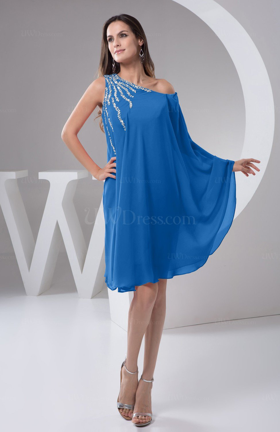Royal Blue Chiffon Bridesmaid Dress Maternity Outdoor Plus Size Autumn A  line Modern