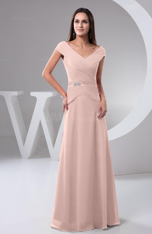 Dusty Rose Chiffon Bridesmaid Dress With Sleeves Short