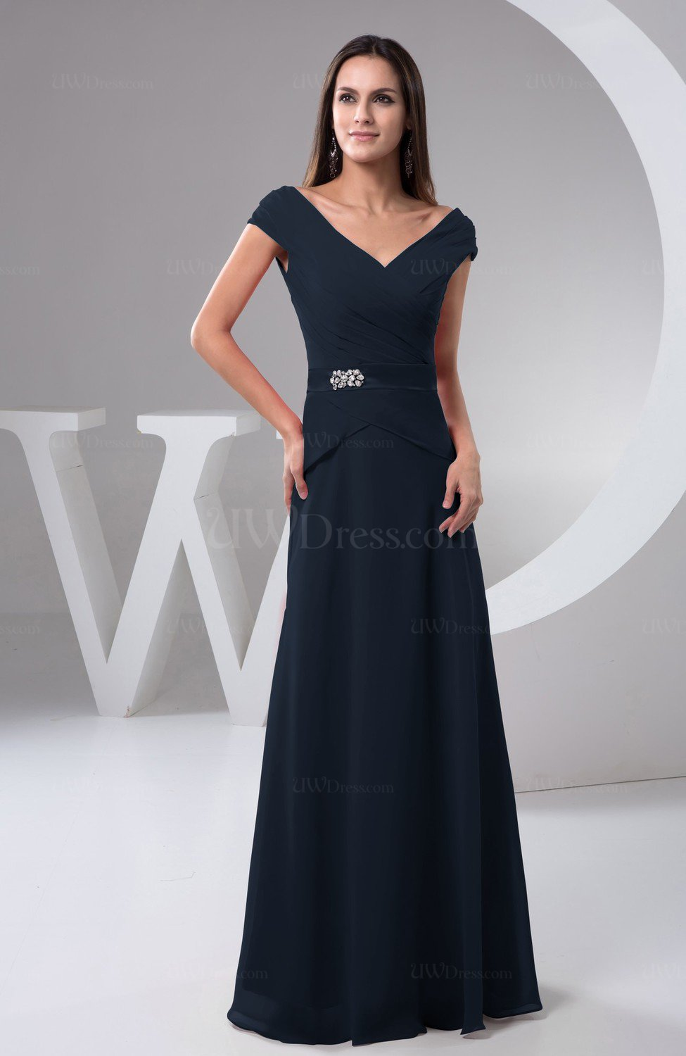 62fd4aae5bcf86 Navy Blue Chiffon Bridesmaid Dress with Sleeves Short Sleeve Outdoor Chic  Autumn (Style D00792)