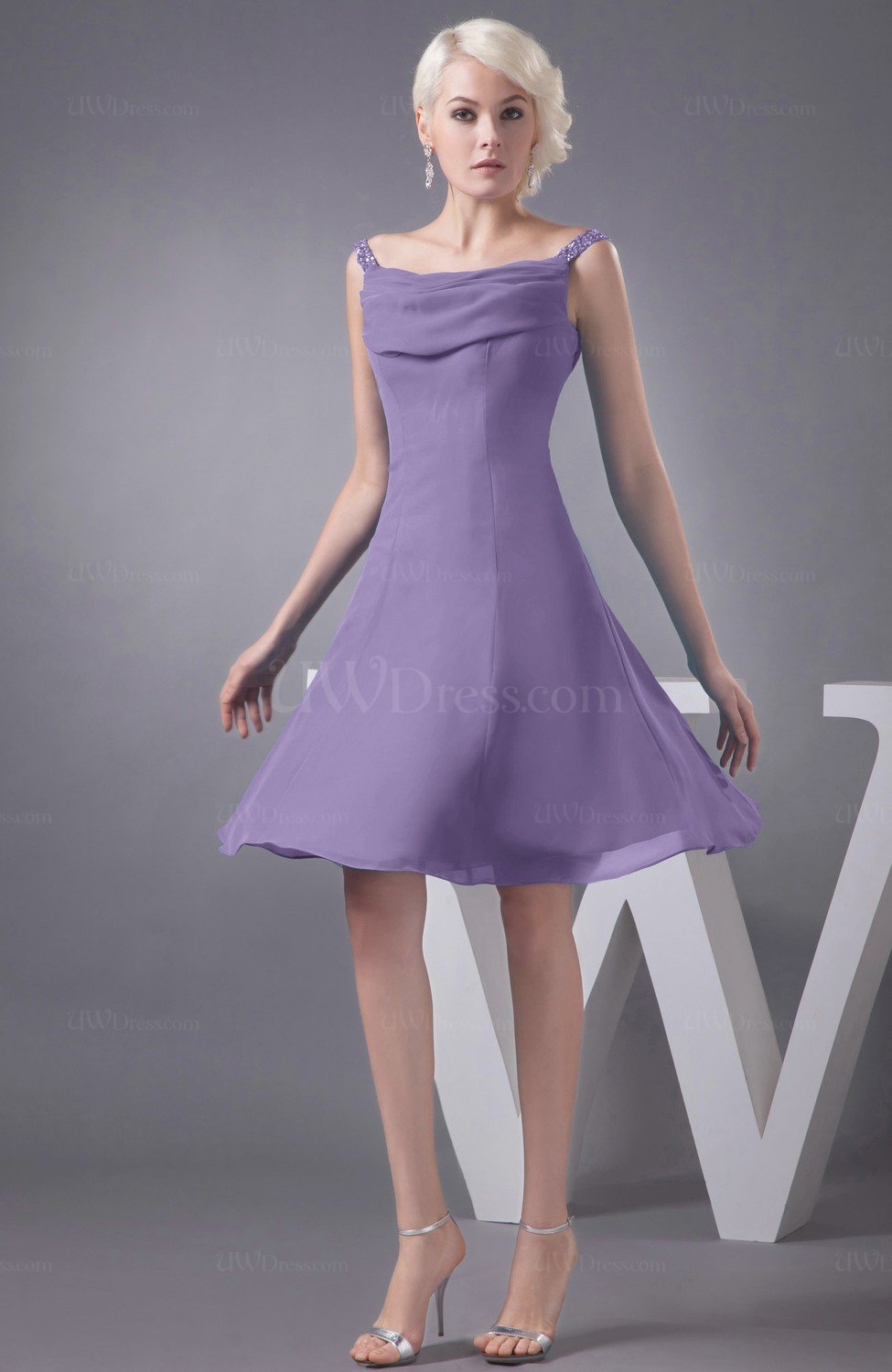 a323ac81745 Chalk Violet Chiffon Bridesmaid Dress Short Winter Fall Formal Casual Chic  for Less (Style D90362)