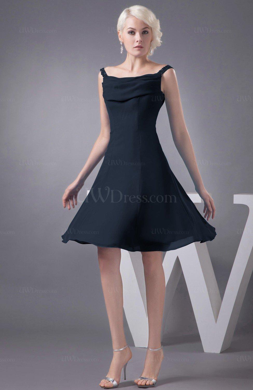 82f389e2cb85e0 Navy Blue Chiffon Bridesmaid Dress Short Winter Fall Formal Casual Chic for  Less (Style D90362)