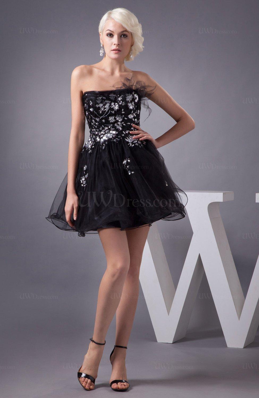 Black Country Bridesmaid Dress Short Baby Doll Mini Pretty Semi Formal Plus  Size