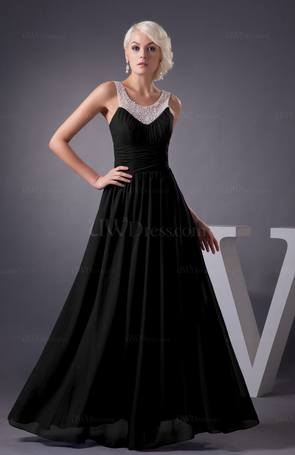 Black Chiffon Bridesmaid Dress Country Chic Summer Simple Plus Size Western