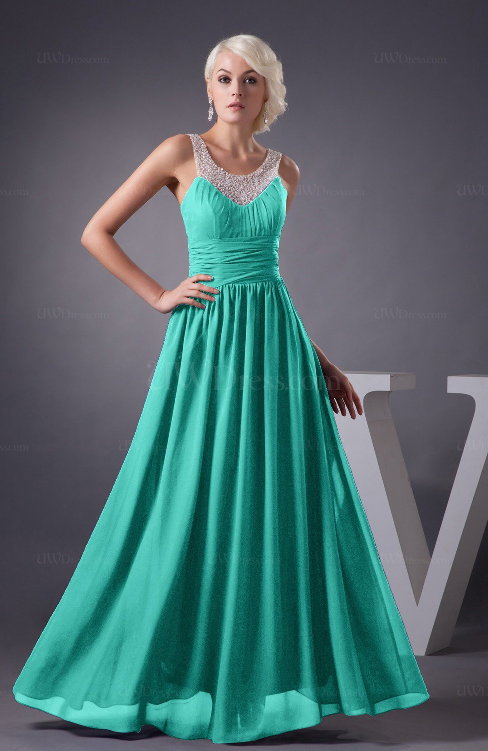 Blue Turquoise Chiffon Bridesmaid Dress Country Chic Summer Simple ...