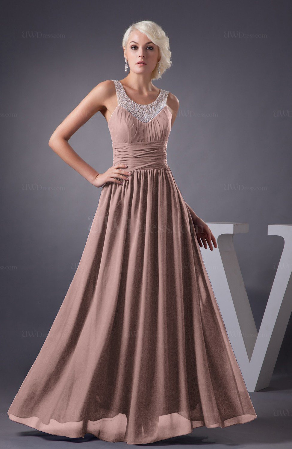 Bridal Rose Chiffon Bridesmaid Dress Country Chic Summer Simple Plus Size Western (Style D10756)