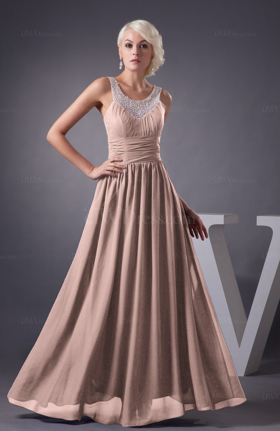 Dusty Rose Chiffon Bridesmaid Dress Country Chic Summer Simple Plus Size  Western