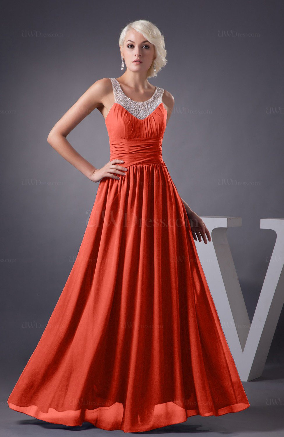 62583191a098b Living Coral Chiffon Bridesmaid Dress Country Chic Summer Simple Plus Size  Western (Style D10756)