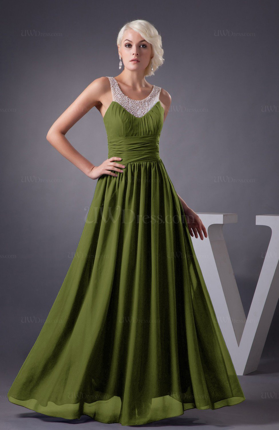 4fbae5cb369 Olive Green Chiffon Bridesmaid Dress Country Chic Summer Simple Plus ...