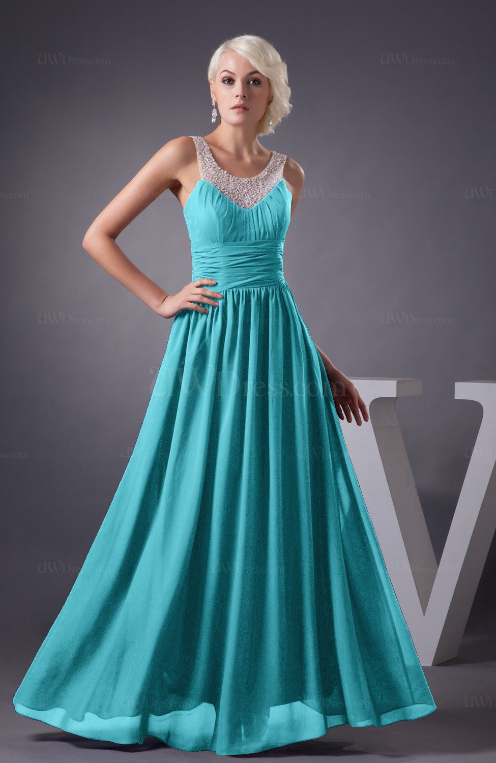 Turquoise Chiffon Bridesmaid Dress Country Chic Summer Simple Plus Size  Western