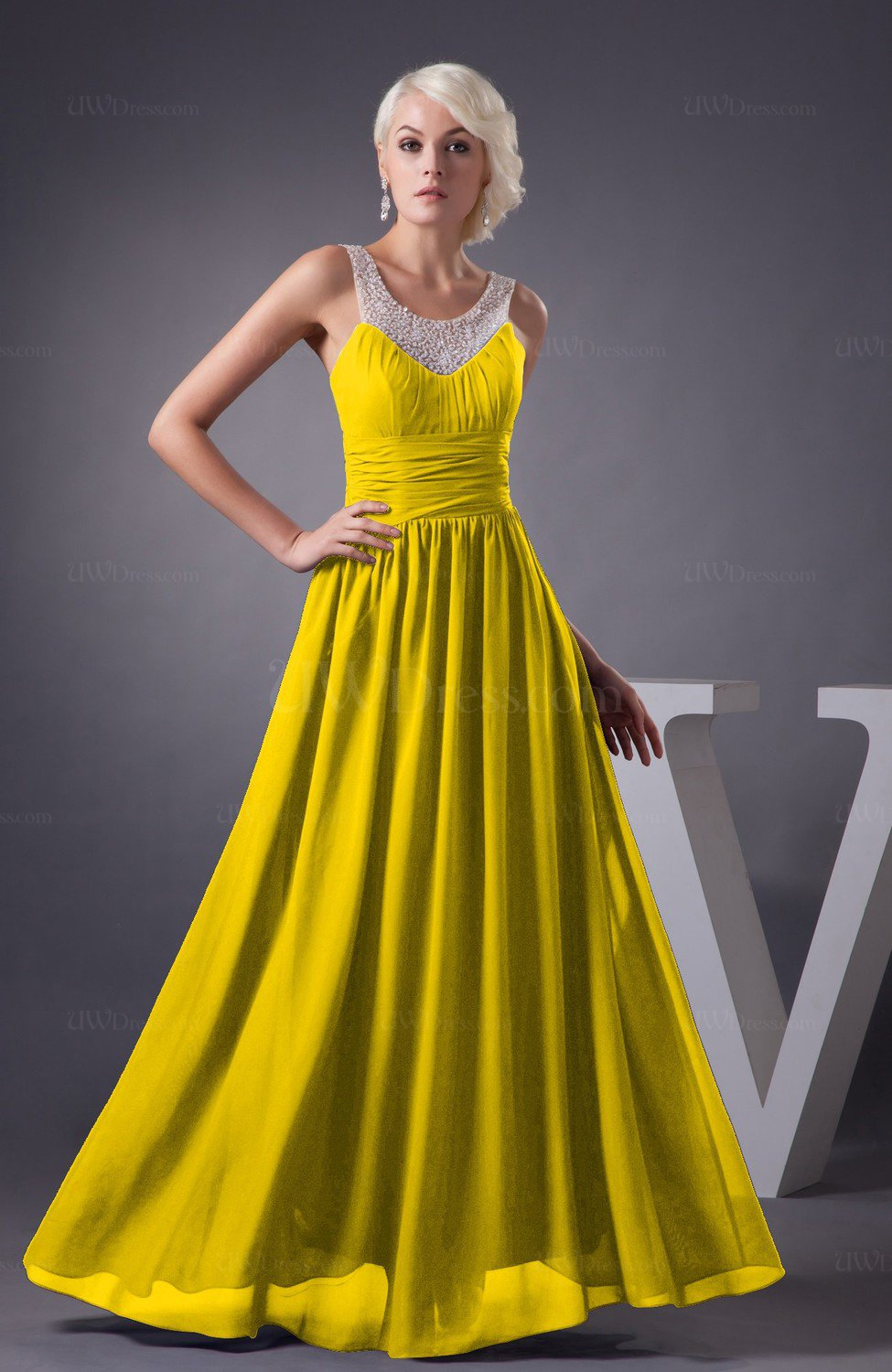 Yellow Chiffon Bridesmaid Dress Country Chic Summer Simple Plus Size Western