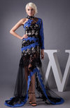 Long Sleeve Party Dress with Sleeves Illusion High Neck Hi Low Sheer Hot