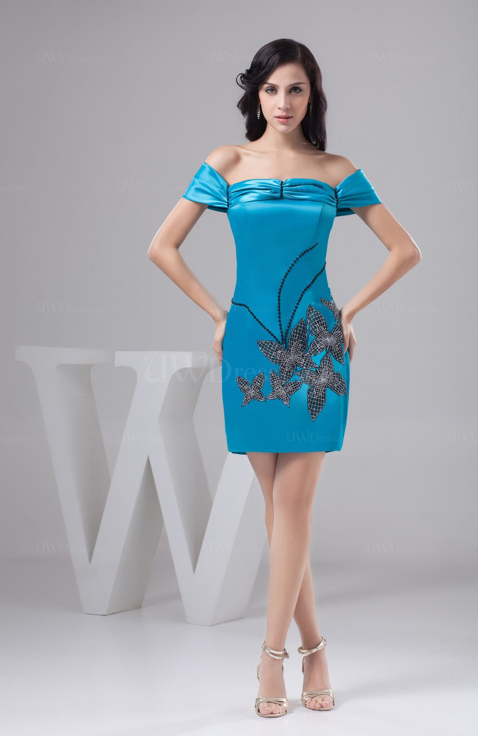 Turquoise with Sleeves Bridesmaid Dress Short Luxury Trendy Mini ...