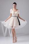 with Sleeves Bridesmaid Dress Short Illusion Sheer Natural Simple