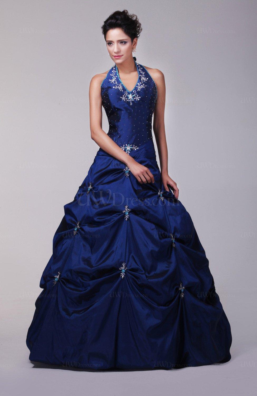 Dark Blue Formal Evening Dress Sexy Winter Floor Length