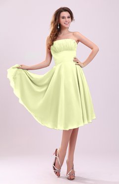 4250f4f4254 Wax Yellow Simple A-line Sleeveless Backless Pleated Wedding Guest ...