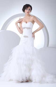 Mature Garden Fit N Flare Sweetheart Sleeveless Court Train Rhinestone Bridal Gowns