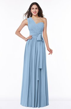 Sky Blue Modern Sleeveless Half Backless Floor Length Ribbon Plus Size  Bridesmaid Dresses