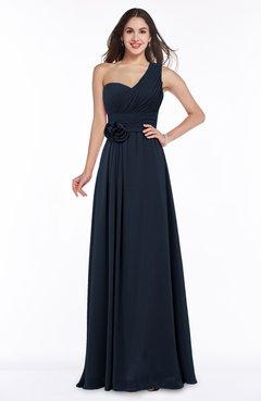 Navy Blue Elegant Asymmetric Neckline Zipper Chiffon Ruching Plus Size  Bridesmaid Dresses