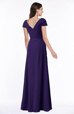 Royal Purple Modest Short Sleeve Chiffon Floor Length Ruching Plus Size  Bridesmaid Dresses
