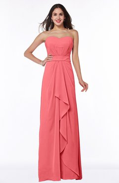 Coral Traditional Strapless Zip up Chiffon Floor Length Plus Size  Bridesmaid Dresses