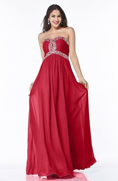 Red Modern Sleeveless Zipper Chiffon Floor Length Plus Size Prom Dresses