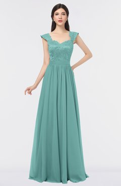 Eggshell Blue Elegant A Line Square Sleeveless Floor Length Lace Bridesmaid Dresses