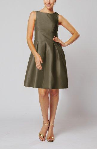 Modest Sleeveless Zipper Taffeta Knee Length Pleated Little Black Dresses