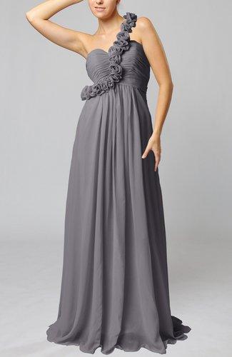 Romantic Column One Shoulder Sleeveless Ruching Evening Dresses