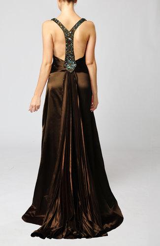 Chocolate Brown Elegant Sleeveless Backless Court Train ...
