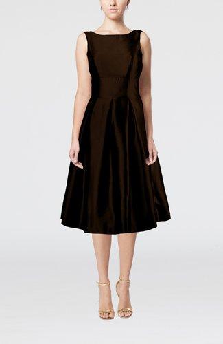 Simple Sleeveless Zipper Taffeta Tea Length Little Black Dresses