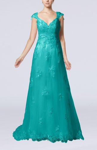Fairytale Outdoor A-line V-neck Zipper Organza Appliques Bridal Gowns