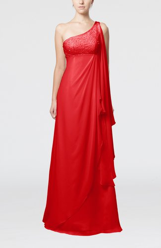 Glamorous Garden Empire One Shoulder Floor Length Beaded Bridal Gowns