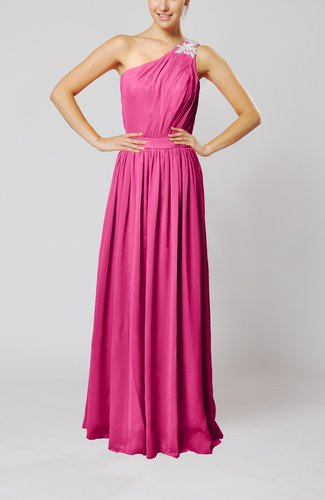 Classic Column One Shoulder Sleeveless Chiffon Pleated Prom Dresses