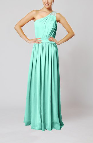 Classic Column One Shoulder Sleeveless Chiffon Pleated Prom Dresses