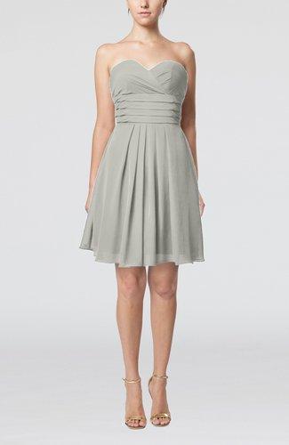 Simple Sleeveless Zip up Chiffon Pleated Graduation Dresses