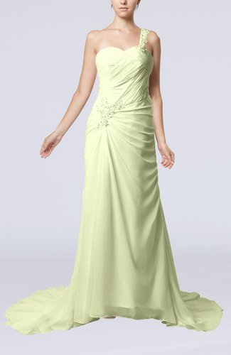 Elegant Church Sheath One Shoulder Chiffon Ruching Bridal Gowns